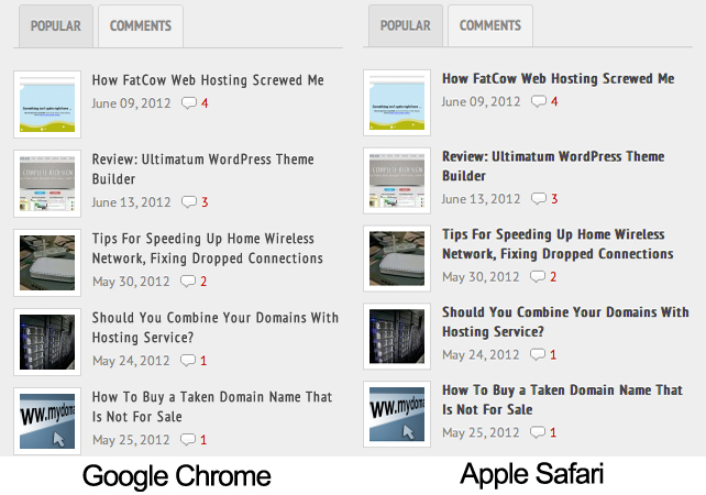 Chrome vs Safari
