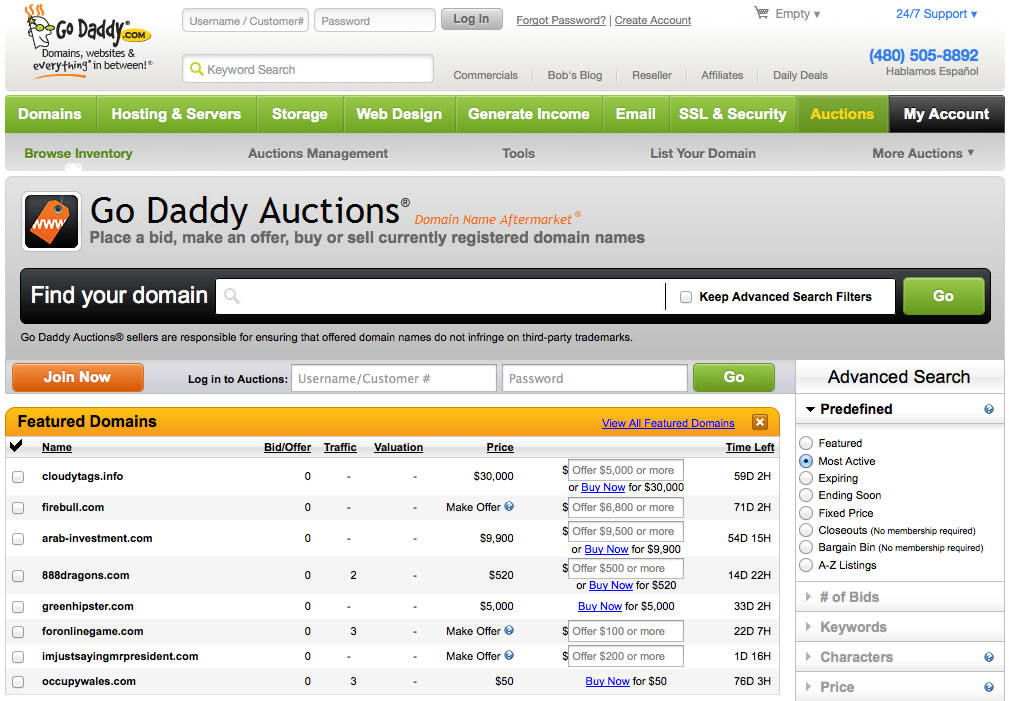 Godaddy Closeout Domains