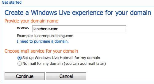 Windows Live Domain Name