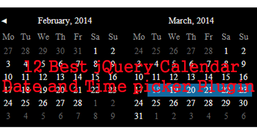 12 Best jQuery Date and Time Calendar picker Plugins