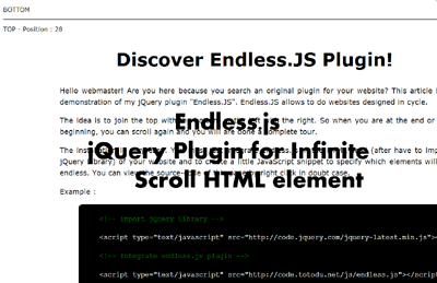 Endless js - jQuery Plugin for Infinite Scroll HTML element