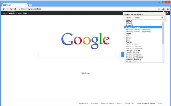 Chrome User Agent Switcher Extensions for Web Developer