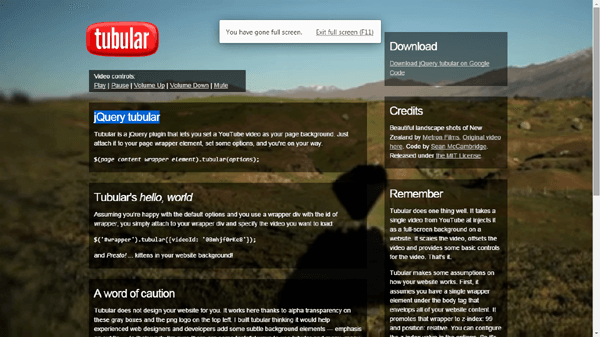 jQuery Tubular Background jQuery Plugin